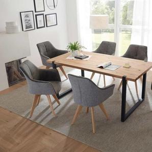 Esstisch mit Tischplatte Eiche massiv, Gestell Metall schwarz lackiert, Maße: B/H/T ca. 180/75/90 cm