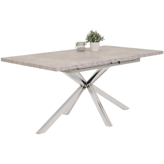 Esstisch mit Tischplatte in Beton-Optik, Gestell aus Metall - chromfarbig, Tischplatte ausziehbar, Maße: B/H/T ca. 160-200/76/90 cm