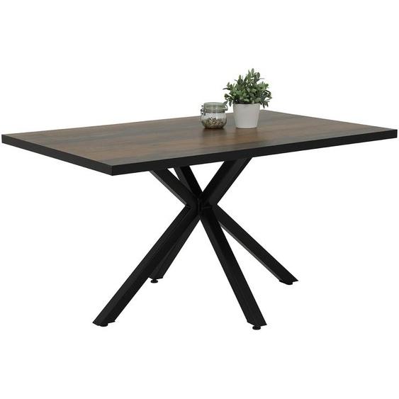 Esstisch mit Tischplatte in Oldwood-Nachbildung, Gestell aus Metall - schwarz gepulvert, Maße: B/H/T ca. 140/76/90 cm