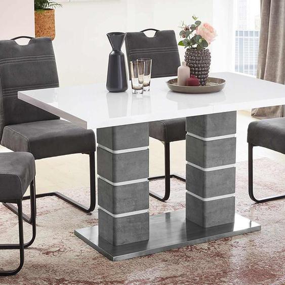 Esstisch mit Tischplatte in weiß Hochglanz, Gestell in Betonoptik und Edelstahlplatte und Synchronauszug, Maße: B/H/T ca. 140-180/76/90 cm