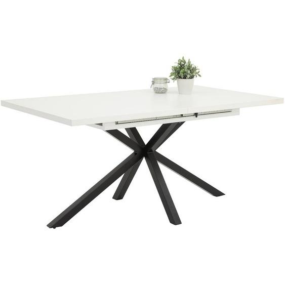 Esstisch mit Tischplatte in WeißGestell aus Metall - schwarz gepulvert, Tischplatte ausziehbar, Maße: B/H/T ca. 160-200/76/90 cm