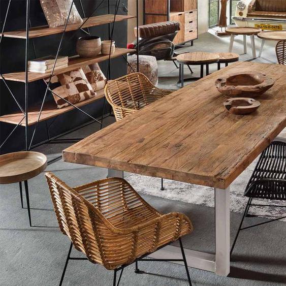 Esstisch mit Tischplatte recyceltes Teak massiv - natur, Gestell aus Eisen in antiksilber, Maße: B/H/T ca. 180/76/100 cm