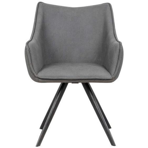 Esstisch Sessel in Grau Kunstleder drehbar (2er Set)