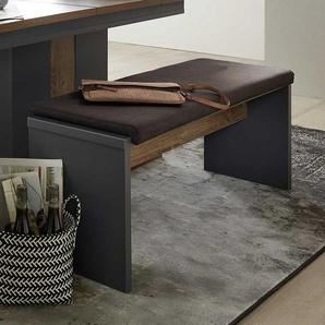 Esstisch Sitzbank in Eiche dunkel Optik und Dunkelgrau modern