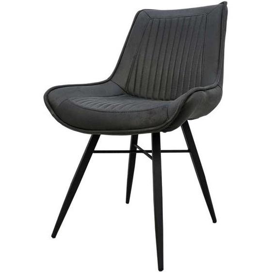 Esstisch Stühle in Grau Microfaser Metallgestell (2er Set)