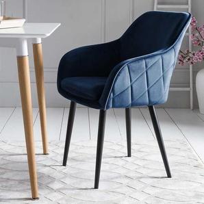 Esstisch Stühle in Dunkelblau Samt Retro Design