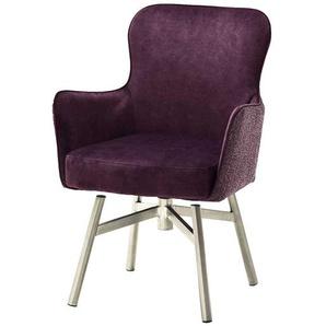 Esstisch Stühle in Dunkelrot Velours drehbar (2er Set)