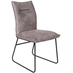 Esstisch Stühle in Graubraun Microfaser Gestell aus Metall