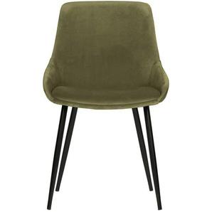 Esstisch Stühle in Grün Samt Metallgestell in Schwarz (2er Set)