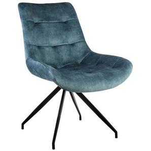 Esstisch Stühle in Petrol und Schwarz Vintage Look Samt Bezug (2er Set)