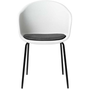 Esstisch Stühle in Weiß und Schwarz Kunststoff (2er Set)