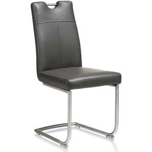 Esstisch Stuhl in Anthrazit Leder freischwingend