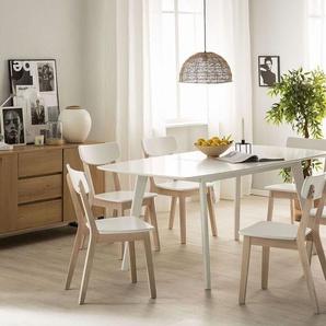Esstisch weiß 120/160 x 80 cm ausziehbar SANFORD