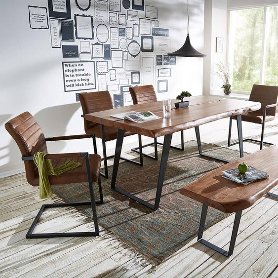 Esstischgruppe Live-Edge Akazie 180x100 Braun 4 Stühle + 1 Bank, Esstischgruppen, Baumkantenmöbel, Massivholzmöbel, Massivholz