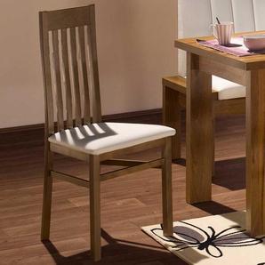 Esstischstühle in Nussbaumfarben Weiß (2er Set)