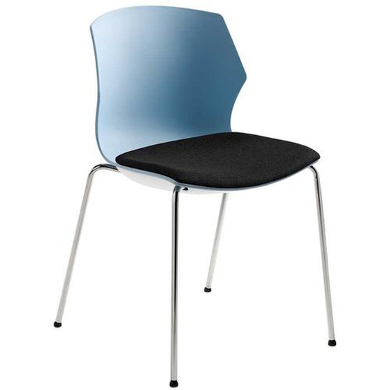 Esstischstuhl in Blaugrau und Schwarz Kunststoff
