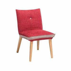 Esstischstuhl in Rot Beige Webstoff Holzbeine