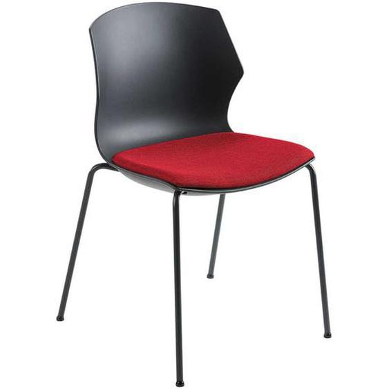 Esstischstuhl in Rot Schwarz und Anthrazit 55 cm breit