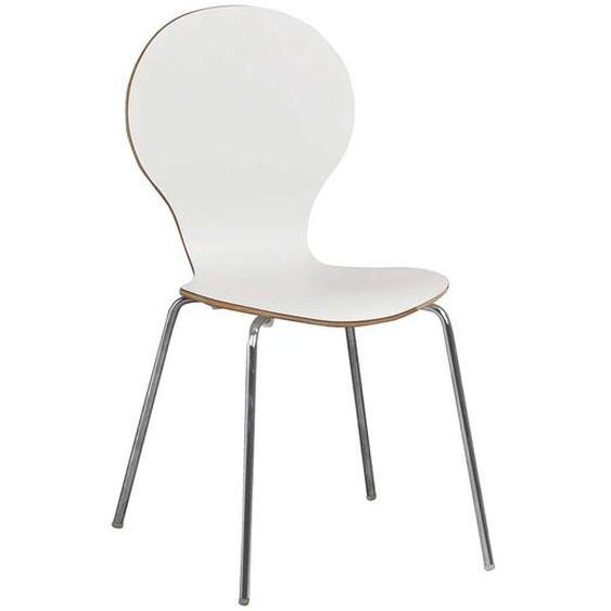 Esstischstuhl Set in Chromfarben und Weiß Skandi Design (4er Set)