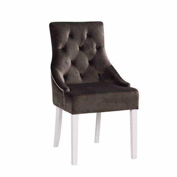 Esstischstuhl Set in Grau Weiß Chesterfield Design (2er Set)
