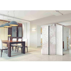 Esszimmer Paravent mit abstraktem Bl�ten Motiv 135 cm breit