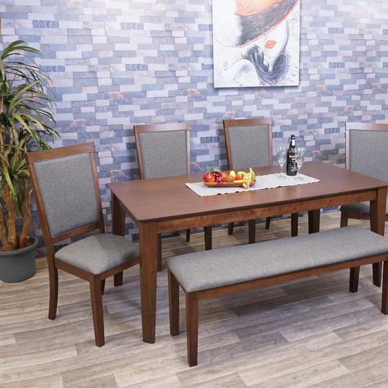 Esszimmer-Set HWC-G61, Essgruppe Esszimmergruppe Esszimmergarnitur Sitzgruppe, Stoff/Textil Massiv-Holz