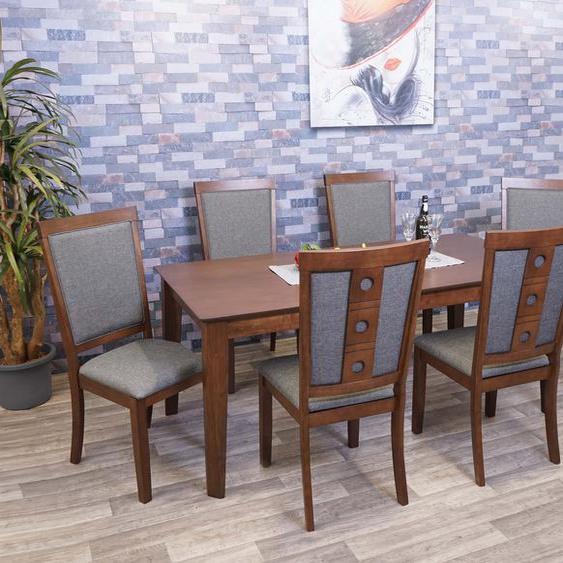 Esszimmer-Set HWC-G61, Sitzgruppe Esszimmergruppe Esszimmergarnitur, Stoff/Textil Massiv-Holz ~ 180x90cm