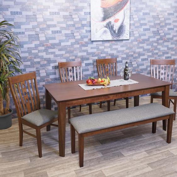 Esszimmer-Set HWC-G62, Essgruppe Esszimmergruppe Esszimmergarnitur Sitzgruppe, Stoff/Textil Massiv-Holz