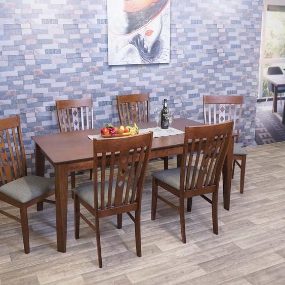 Esszimmer-Set HWC-G62, Sitzgruppe Esszimmergruppe Esszimmergarnitur, Stoff/Textil Massiv-Holz ~ 160x90cm