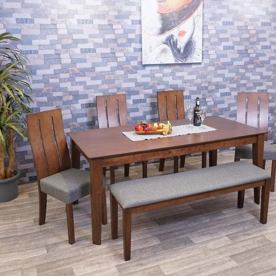 Esszimmer-Set HWC-G63, Essgruppe Esszimmergruppe Esszimmergarnitur Sitzgruppe, Stoff/Textil Massiv-Holz
