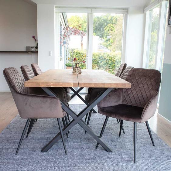 Esszimmer Sitzgarnitur aus Eiche Massivholz und Stahl Stühlen in Taupe (7-teilig)