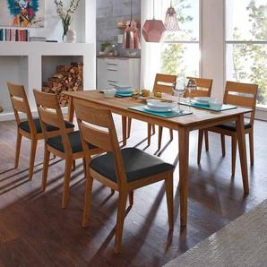 Esszimmer Sitzgruppe aus Wildeiche Massivholz Tisch 180 cm breit (7-teilig)