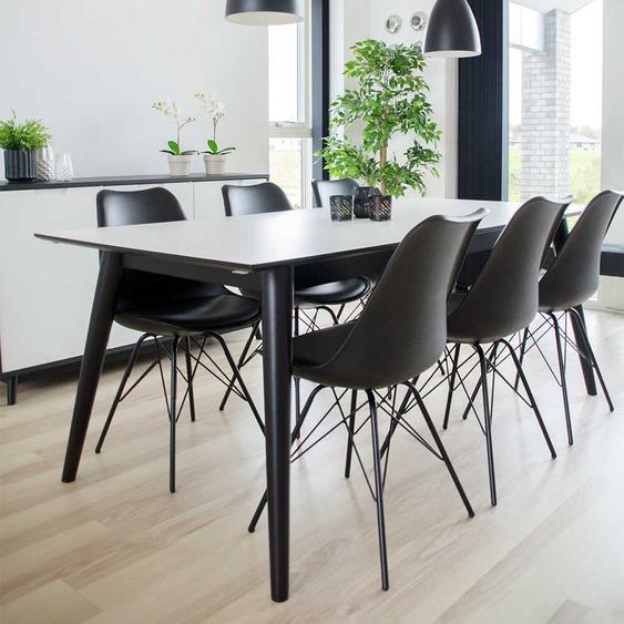 Esszimmer Sitzgruppe in Schwarz und Weiß ausziehbar (7-teilig)