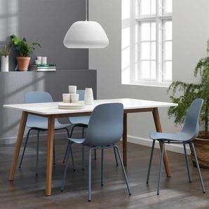 Esszimmer Sitzgruppe in Weiß und Blaugrau Skandi Design (fünfteilig)