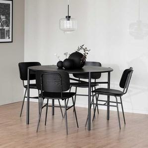 Esszimmer Sitzgruppe schwarz im Retrostil vier Sitzplätzen (fünfteilig)
