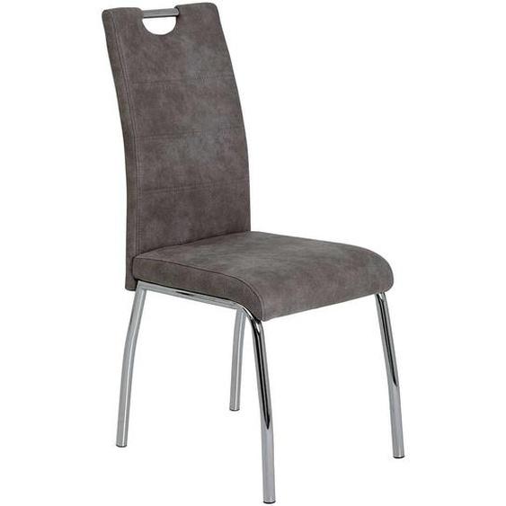 Esszimmer Stühle in Grau Microfaser Griff (Set)