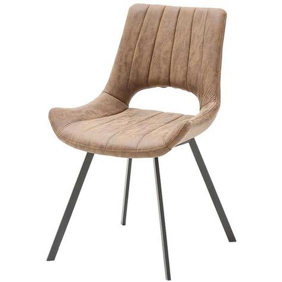 Esszimmer Stühle in Hellbraun Kunstleder offener Lehne (2er Set)