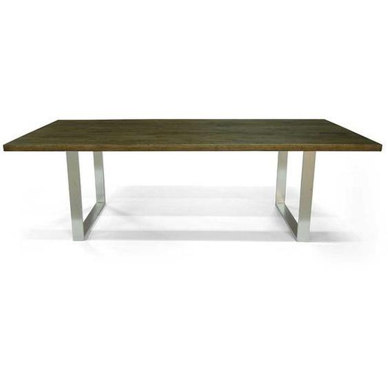 Esszimmer Tisch aus Eiche Massivholz und Edelstahl 75 cm hoch