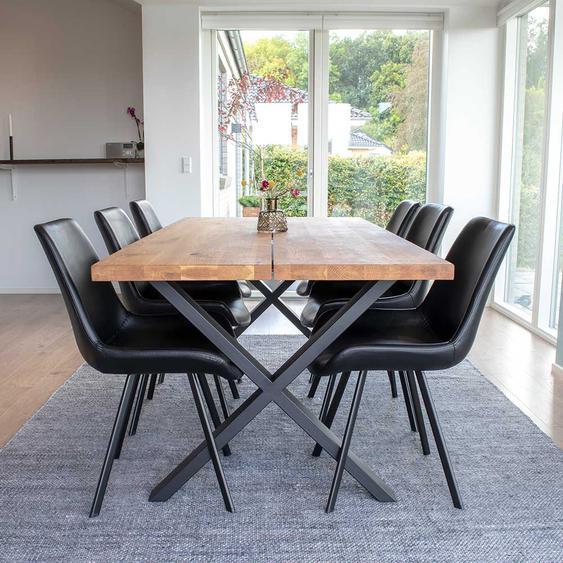 Esszimmer Tischgruppe aus Eiche Massivholz Schwarz Kunstleder (7-teilig)