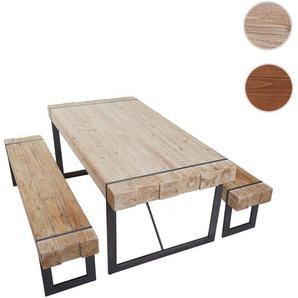 Esszimmergarnitur HWC-A15, Esstisch + 2x Sitzbank, Tanne Holz rustikal massiv ~ 160cm