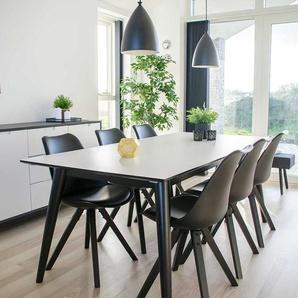 Esszimmergarnitur in Schwarz und Weiß Skandi Design (siebenteilig)