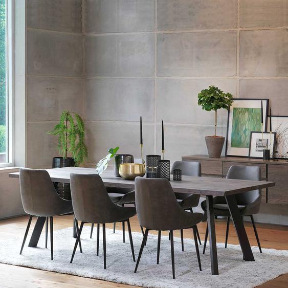 Esszimmergruppe in Eiche Rauchfarben und Dunkelgrau Tisch 240 cm breit (7-teilig)
