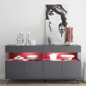 Esszimmersideboard in Anthrazit und Rot modern