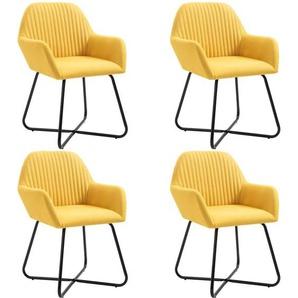 Esszimmerstühle 4 Stk. Gelb Stoff - VIDAXL