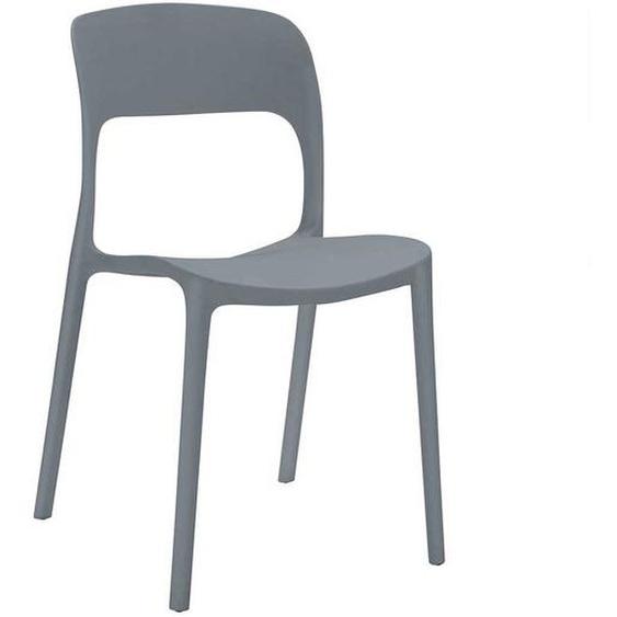 Esszimmerstühle in Grau Kunststoff (2er Set)