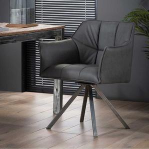 Esszimmerstühle in Schwarz und Silberfarben Kunstleder und Edelstahl (2er Set)