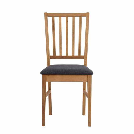 Esszimmerstuhl aus Eiche Massivholz Grau Webstoff (2er Set)