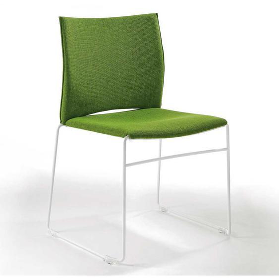 Esszimmerstuhl Grün Webstoff Weiß Metall (2er Set)