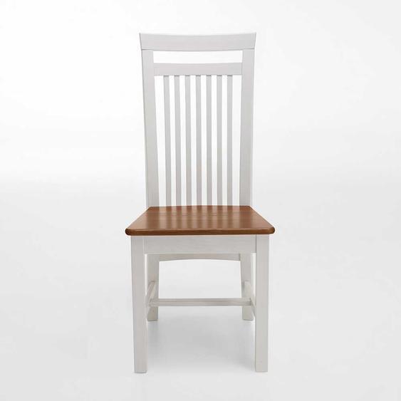 Esszimmerstuhl in Weiß Braun Kiefer Massivholz (2er Set)