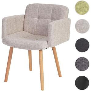 Esszimmerstuhl Orlando II, Stuhl K�chenstuhl, Retro-Design ~ Textil, creme/grau